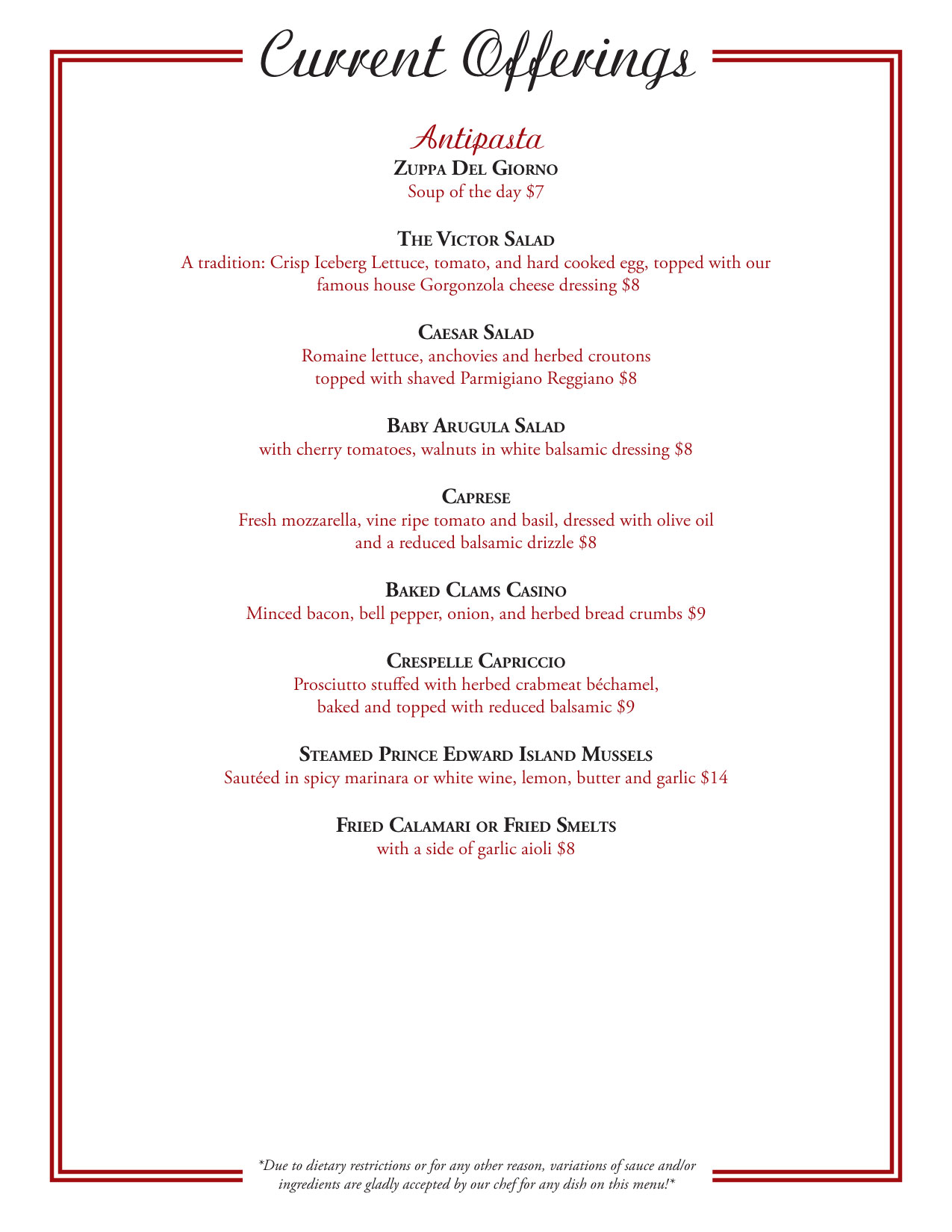 Cafe Rendezvous Menu